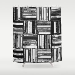 Music Cassette Stacks - Black and White - Something Nostalgic IV #decor #society6 #buyart Shower Curtain