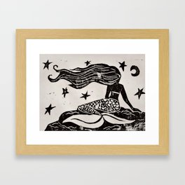 Night Mermaid Framed Art Print