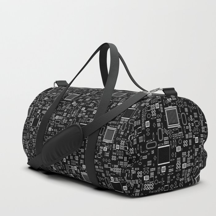 All Tech Line INVERTED / Highly detailed computer circuit board pattern Duffle Bag