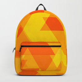 Bright yellow and orange large triangles in the intersection and overlay. Backpack