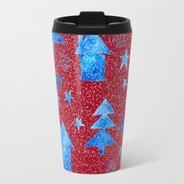 Vibrant red blue teal winter falling snow trees stars and houses pattern Travel Mug