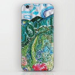 cheerful handmade embroidery in the digital world iPhone Skin