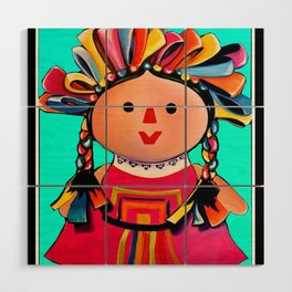 Mexican Maria Doll (turquoise) Wood Wall Art