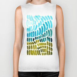 Complementary colors Blue Green Watercolor Natural Pattern Colorful Mid Century Modern Art Biker Tank