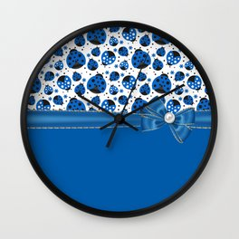 Fun Blue Ladybugs Wall Clock