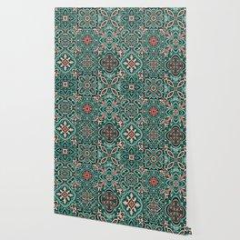 Peranakan Art Nouveau Tiles (Mixed Patterns in Peach Garden) Wallpaper