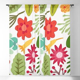 Cute Vector Floral Pattern Blackout Curtain