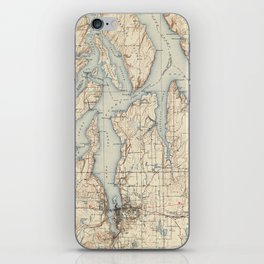 Vintage Map of The Puget Sound (1934) iPhone Skin