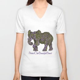 Elephant~ the beautiful beast Unisex V-Neck