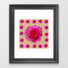 CONTEMPORARY CHARTREUSE PINK ROSES ABSTRACT GARDEN ART Framed Art Print