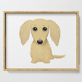 Longhaired Cream Dachshund Cartoon Dog Serving Tray