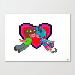 Scott Pilgrim + Ramona Flowers 8-bit Heart Canvas Print