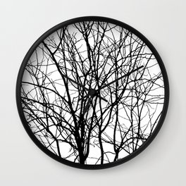 Tree Branches in B&W Wall Clock