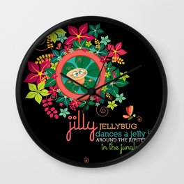 JILLY jellybug® dances a jelly jig around the jupiter trees in the jungle. Wall Clock