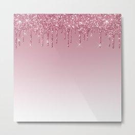 Pink Dripping Glitter Metal Print