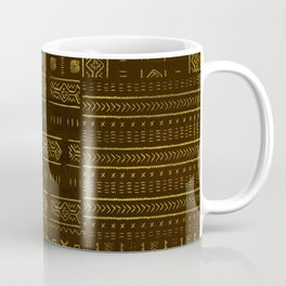 Gold African Tribal Pattern on rich brown texture Coffee Mug