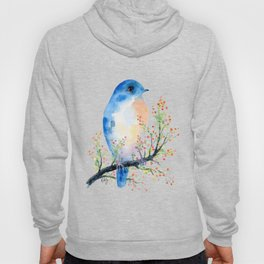 Watercolor bluebird on Berry Branch Hoody