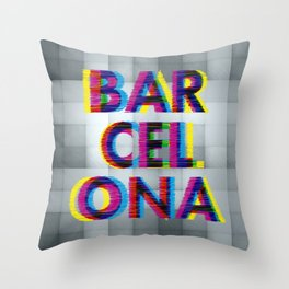 Barcelona Glitch Psychedelic Throw Pillow