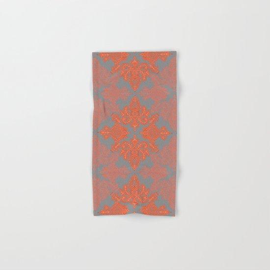 Burnt Orange, Coral & Grey doodle pattern Hand & Bath Towel