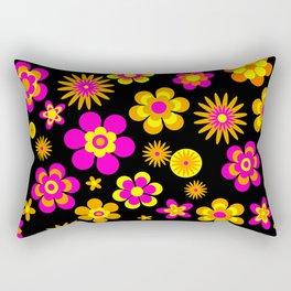 Seventies Look Floral Pattern on Black Rectangular Pillow