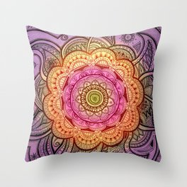 Colorful Mandala Throw Pillow
