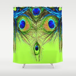 CHARTREUSE BLUE-GREEN PEACOCK FEATHERS ART PATTERNS Shower Curtain