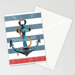 Maritime Design - Nautic Anchor on stripes in blue and red Stationery Cards