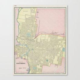 Vintage Map of Columbus Ohio (1901) Canvas Print
