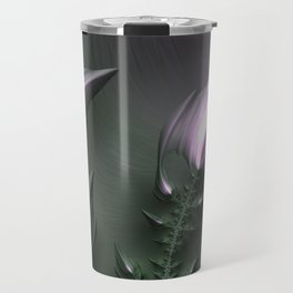 Mandelbrot Set Fractal Art Abstract Flowers in Shades of Purple Travel Mug
