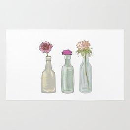 flowers in glass bottles . Pastel colors . Illustration / artwork Rug