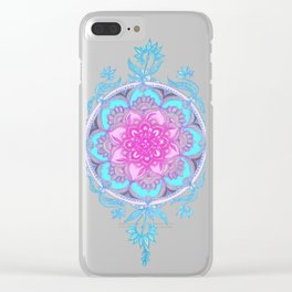 Pink, Purple and Turquoise Super Boho Doodle Medallions Clear iPhone Case
