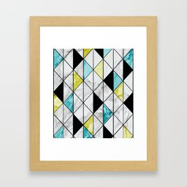 Marble Colorblocking with Yellow and Turquoise Framed Art Print