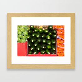 Brussel Sprouts , Cucumbers and Carrots Framed Art Print