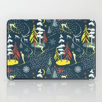 skiing iPad Cases featuring Retro Skiing  by beach please