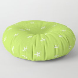 White Crown pattern on Green background Floor Pillow