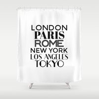 cities Shower Curtains featuring Cities of the World by CreativeAngel