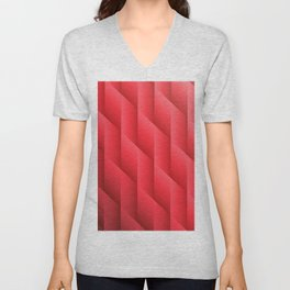 Gradient Red Diamonds Geometric Shapes Unisex V-Neck
