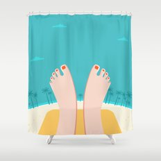 Feet on Beach Shower Curtain