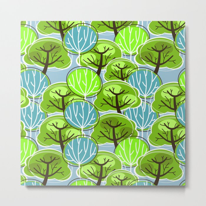 Retro Trees, in blue and green Metal Print