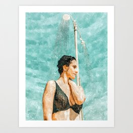 Bathe #painting #illustration Art Print