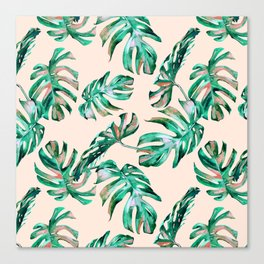 Tropical Palm Leaves Coral Greenery Canvas Print