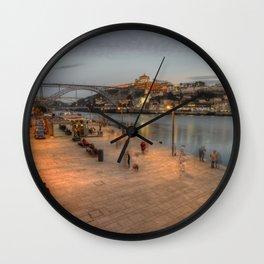 Porto Bridge Dusk Wall Clock
