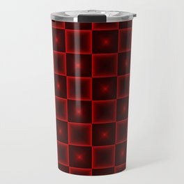 A chaotic cell of raised squares with red intersecting spotted stars and highlights. Travel Mug