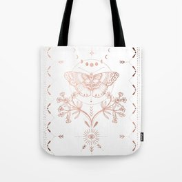 Magical Moth In Rose Gold Tote Bag