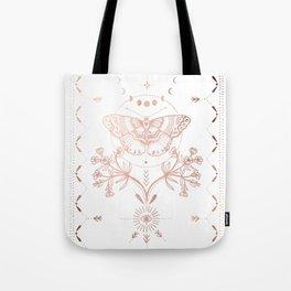 Magical Moth In Rose Gold Tote Bag
