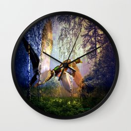 Ducks Flying To The Lake By Annie Zeno Wall Clock