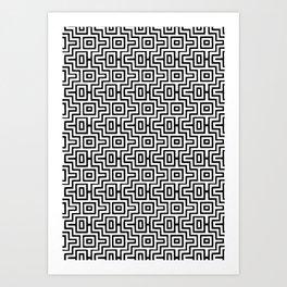 Black & White Choctaw Pattern Art Print