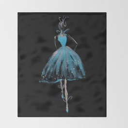 Blue and Light Haute Couture Fashion Illustration Throw Blanket