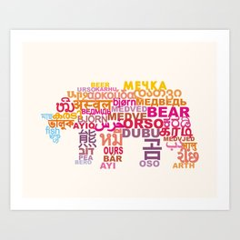 Bear in Different Languages Art Print