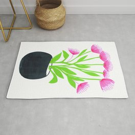 Flower base, Modern colorful line art and paper cuts Rug